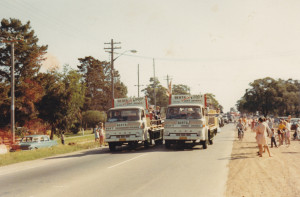 Berts delivery trucks participating in a parade