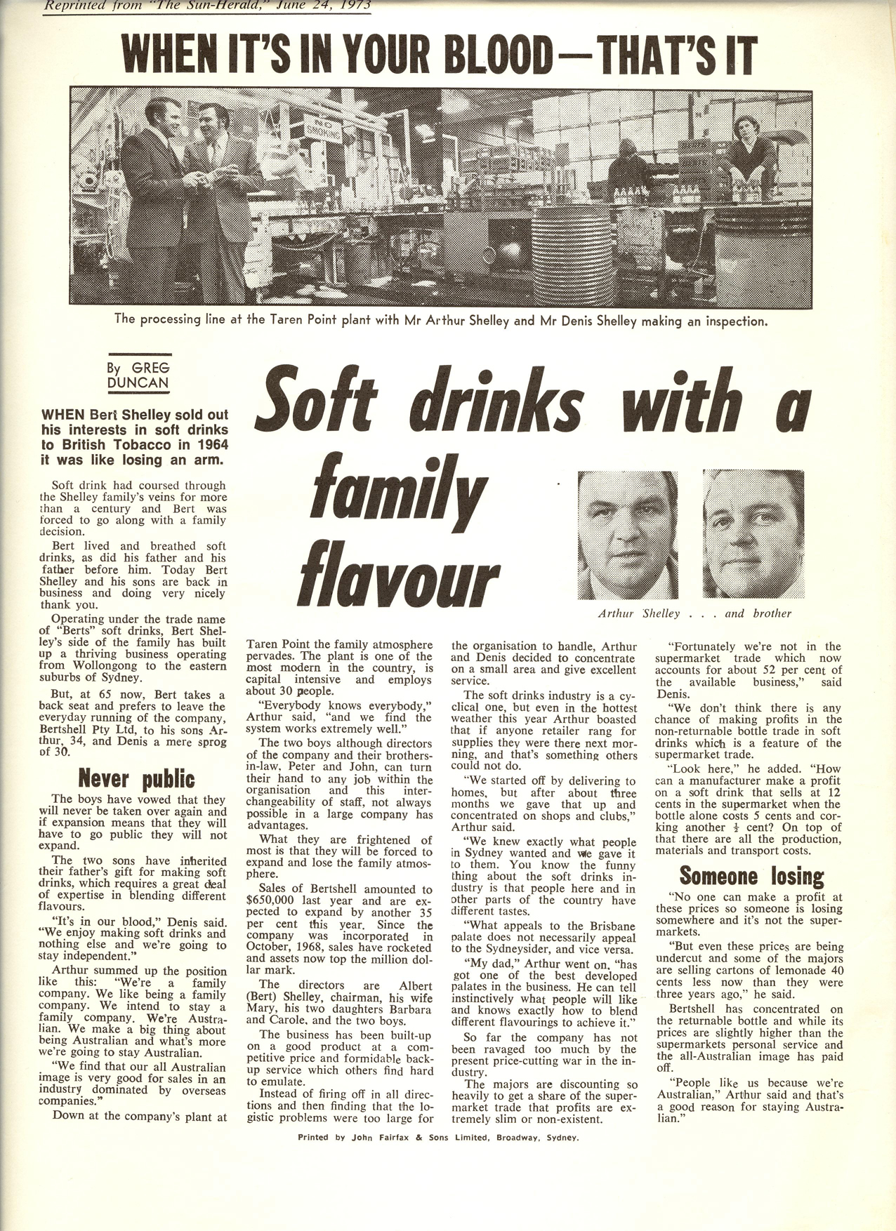 "Berts ""When its in your blood"" - 1973 Herald Sun"