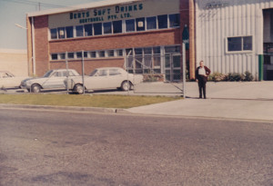Albert Shelley outside of Berts factory 1970's